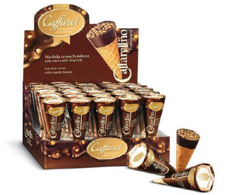 Cones de Wafer Recheados com Crème de Chocolate Amargo